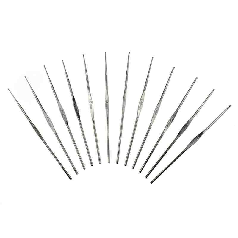 100 шт Алюминий крючки вязальные вязание набор иголок швейные иглы свитер ткацкие инструменты комплект с коробкой швейная фурнитура крючки для вязания спицы для вязания