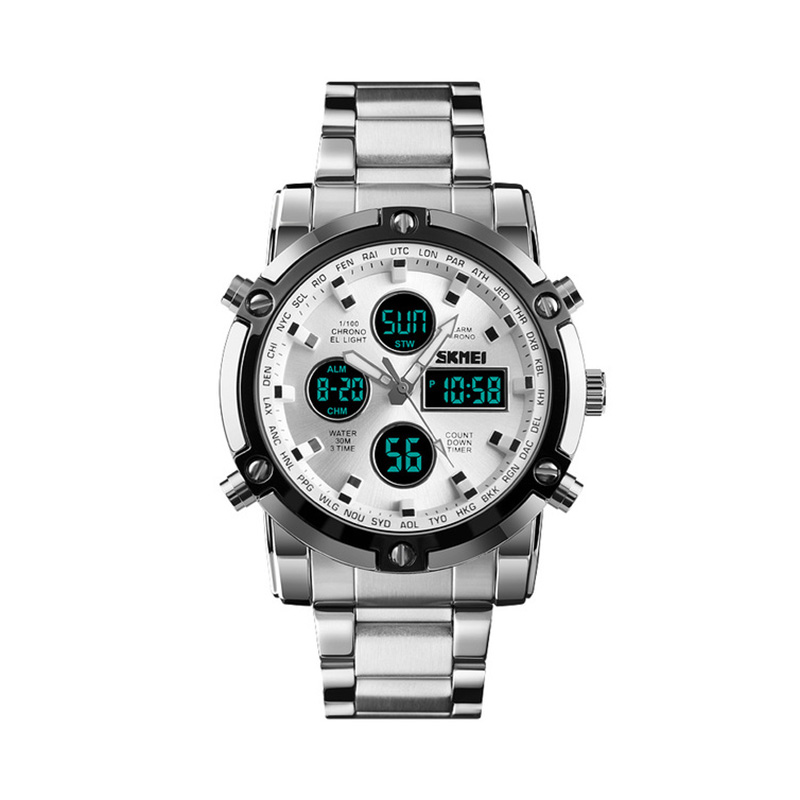 <font><b>SKMEi</b></font> Men'S Quartz Watch Luxury Fashion Sports Watch Waterproof Stainless Steel Strap Date Luminous Watch <font><b>1389</b></font> image