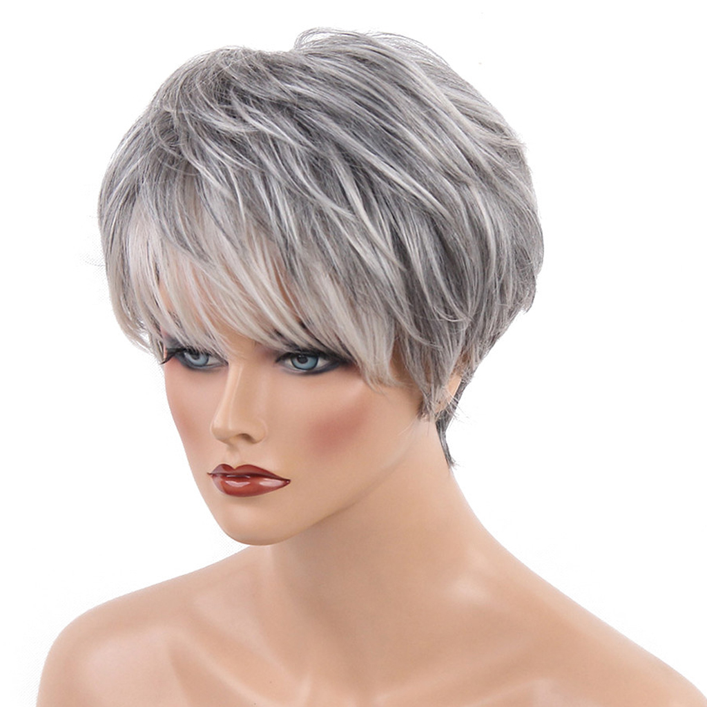Cool Design Short Straight Wigs with Bangs Silver Gray Color Heat Perm OK 70% Real Human Hair Full Head Women Wigs graceful short side bang fluffy natural wavy capless human hair wig for women
