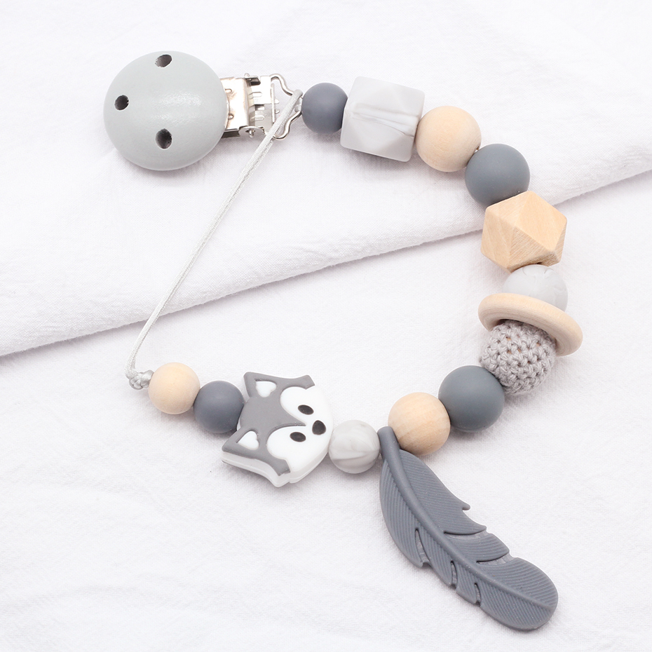 Baby Pacifier Clip Chain Silicone Beads Wooden Holder Soother Pacifier Clips Nipple Holder For Infant Nipple Bottle Clip Chain