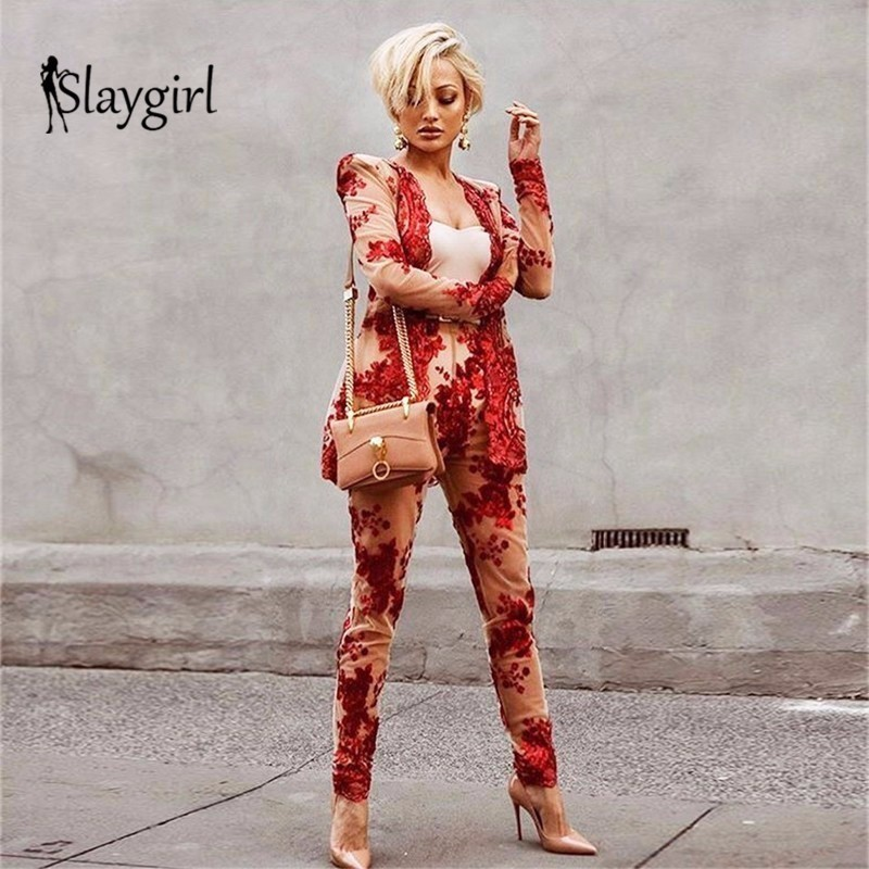 Slaygirl Sequined Sexy Two Piece Sets  Women 2018 Autumn Long Sleeve V Neck Black Red Casual 2 Piece Set Pant Tracksuit Outfits