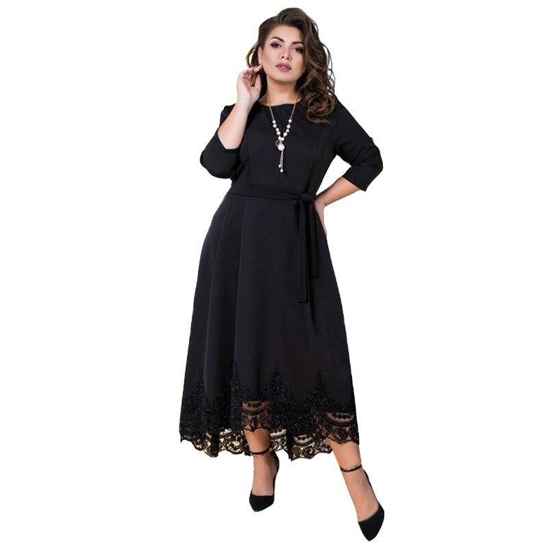 2019 femmes robe élégante noir dentelle robe de soirée grande taille robe longue été Maxi robe 5XL 6XL grand Vestidos