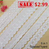 5 piezas * 1 yarda 100% algodón bordado encaje tela de broderie francés guipur diy adornos de punto de urdimbre accesorios de costura #3968