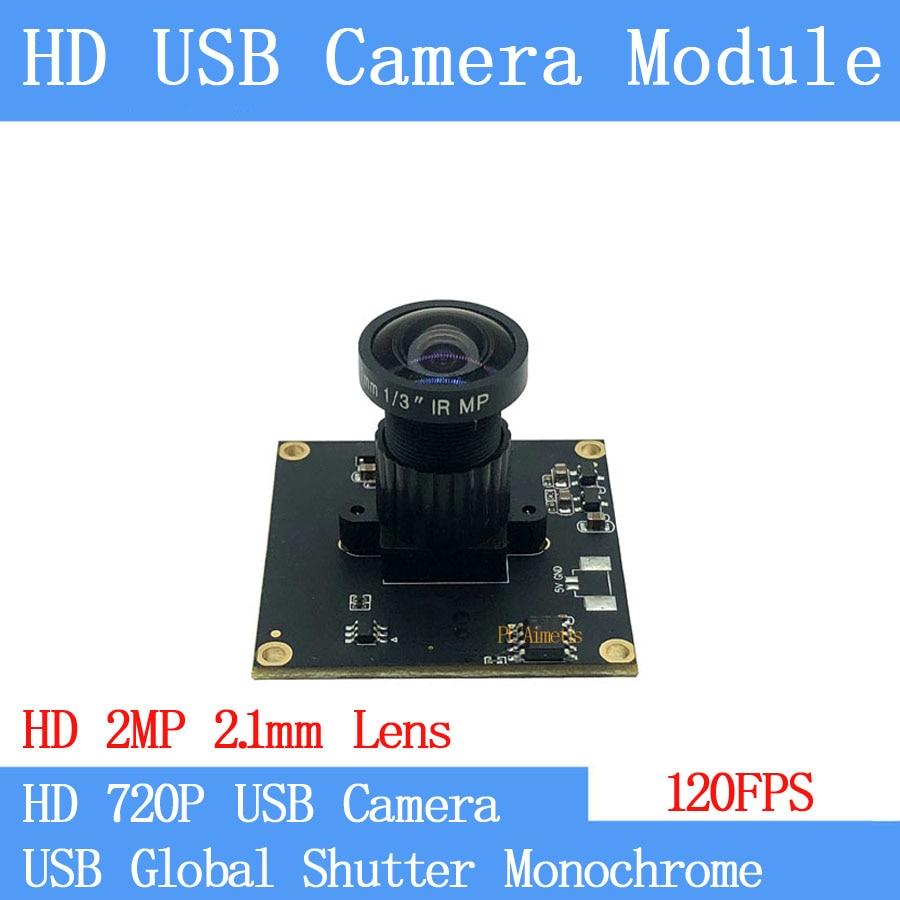 US $65 18 10% OFF|120FPS Monochrome USB Camera Module Global Shutter High  Speed OTG UVC Linux USB 720P Mini cctv Surveillance camera-in Surveillance