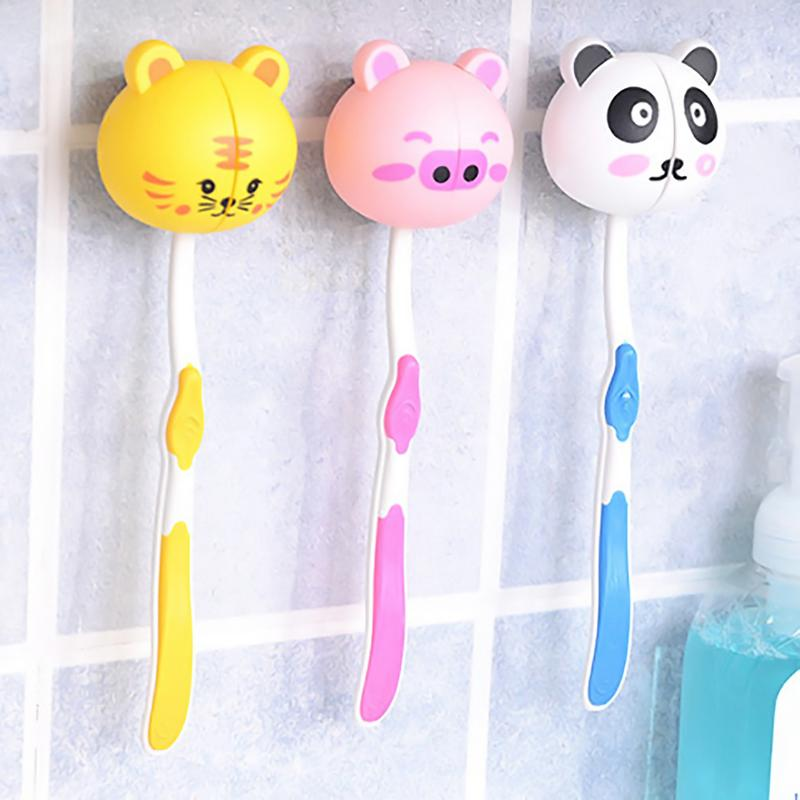 Household Bathroom Portable Children Cartoon Animal Toothbrush Holder Wall-mounted Suction Cup Toothbrush Holder Style Random image