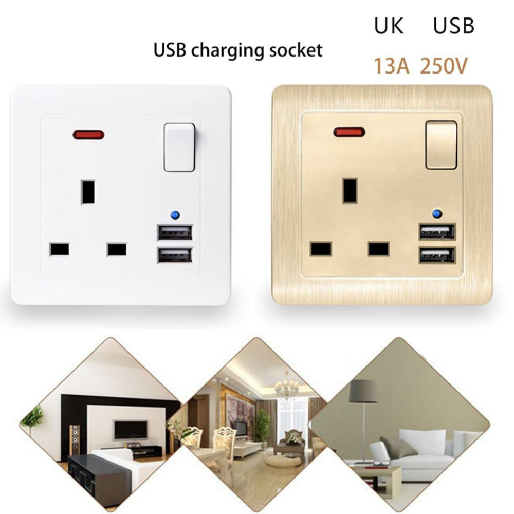 Best Dual 2.1A USB Ports Wall Charger 13A UK Standard Electrical Plug Socket Outlet Panel USB Power Charge for Phone 110~250VBest Dual 2.1A USB Ports Wall Charger 13A UK Standard Electrical Plug Socket Outlet Panel USB Power Charge for Phone 110~250V