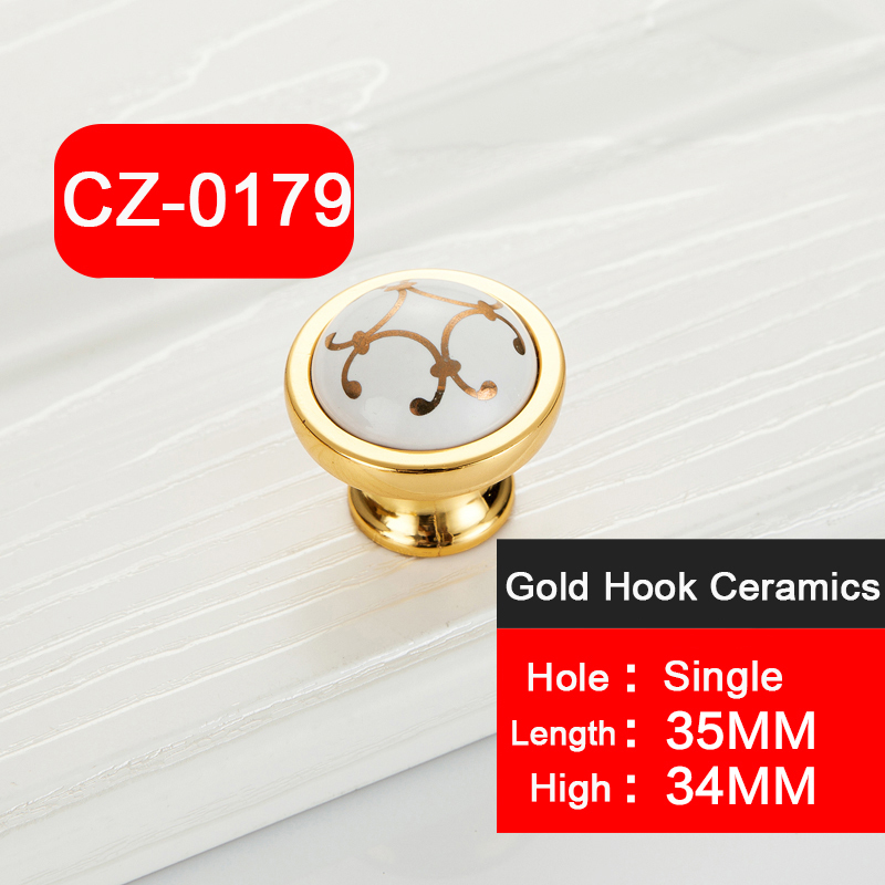 1 PC Antique Zinc Alloy and ceramics furniture ceramics golden handles Kitchen Drawer Wardrobe dresser Pull With Screw Furnitur in Cabinet Pulls from Home Improvement