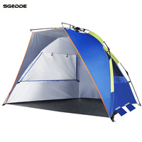 SGODDE Blue Three Person Fishing Shelter Tent Portable Pop Up Beach Tent Sunshade Bivvy UV Protective Quick Automatic Opening