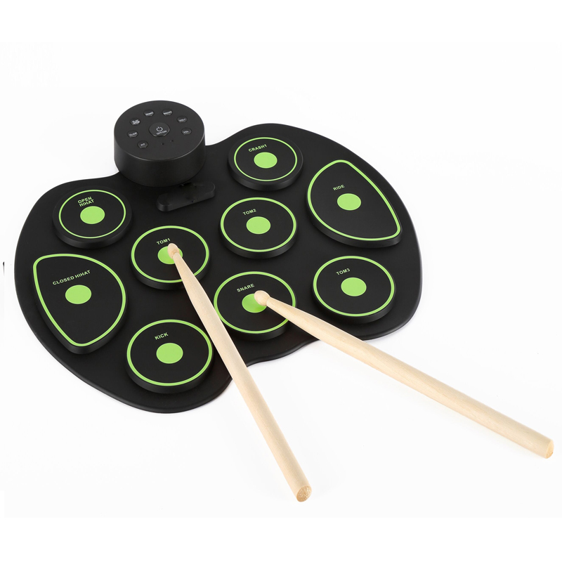 9 pads Professional Drum Pad Foldable Silicon Kit with USB Portable Cylinder Stick Electronic9 pads Professional Drum Pad Foldable Silicon Kit with USB Portable Cylinder Stick Electronic
