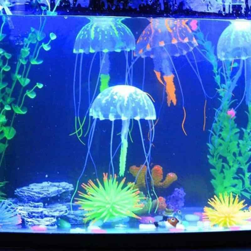 Aquarium Silicone  Glowing Swim Effect Artificial Jellyfish Ornament Fish Tank Underwater Luminous Ornament Landscape Decoration
