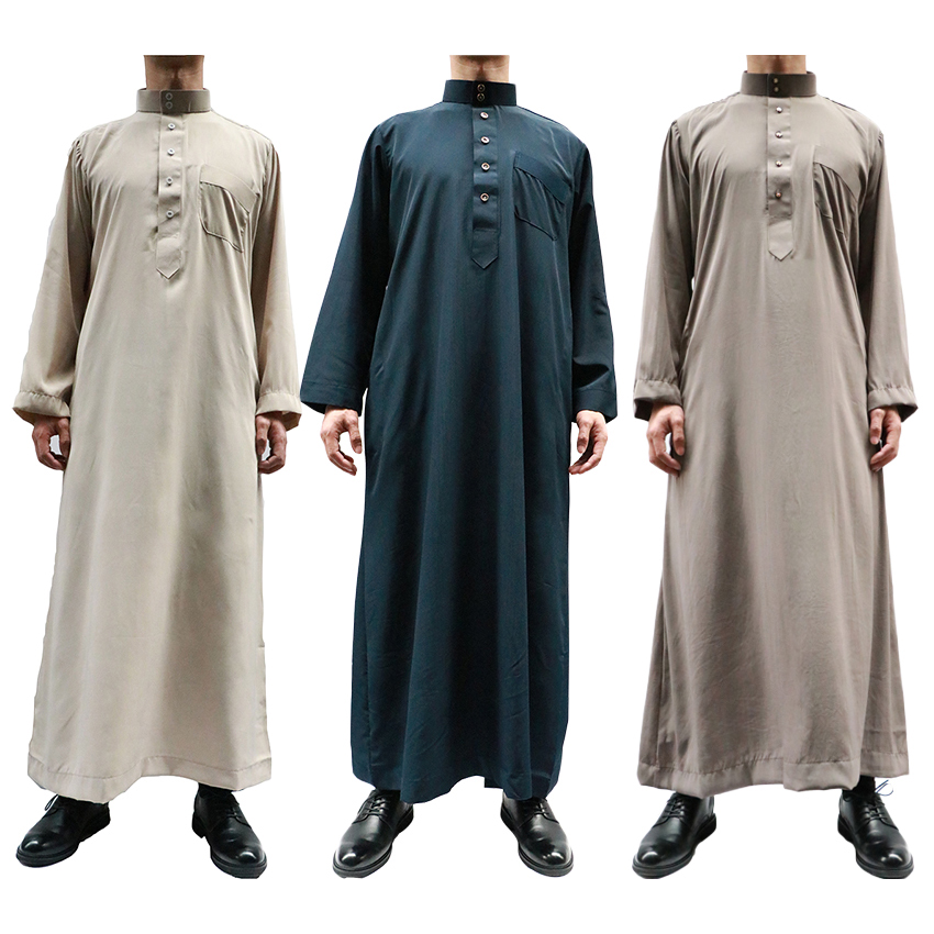Middle Ease Men Muslim Traditional Costumes Long Solid Jubba Thobe Man Indian Kaftan Islamic Saud Arabe Dubai Robe Gown