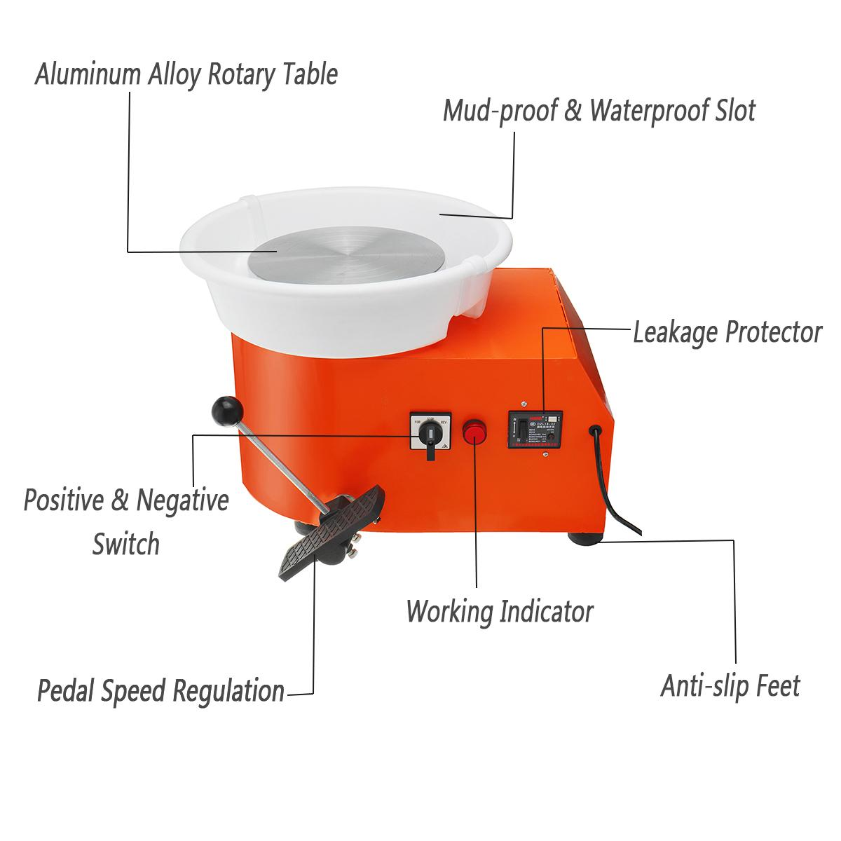 110/220 V 350 W poterie roue détachable Machine en céramique travail argile artisanat Art pied pédale US/AU/EU Plug Flexible détachable lisse - 4