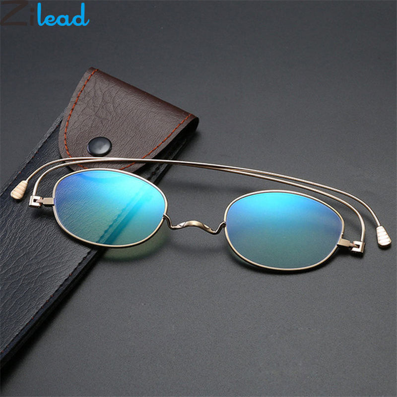 Zilead Portable Anti Blue Light Reading Glasses For Women&Men  Metal Small Frame Presbyopic Eyeglasses With Case+1.0to+4.0