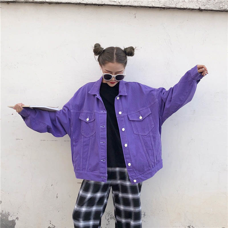 Streetwear Oversize Denim Jacket For Women Casual Candy Color Purple Bomber Jeans   Coat   BF Style Loose Outwear tops A9025
