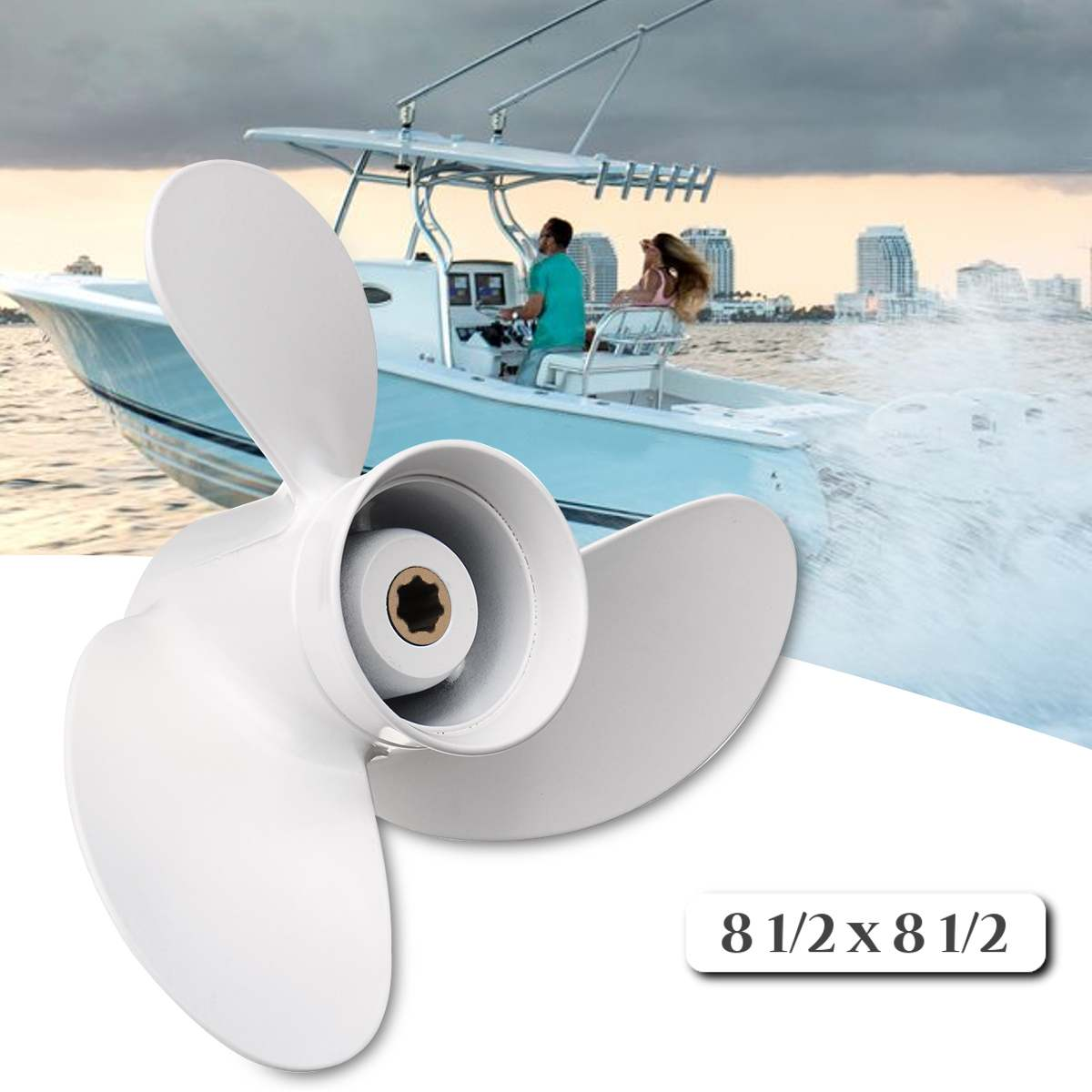 6G1-45941-00-EL for Yamaha 6-8HP 8 1/2 x 8 1/2 Boat Outboard Propeller White Aluminum Alloy 7 Spline Tooths R Rotation 3 Blades6G1-45941-00-EL for Yamaha 6-8HP 8 1/2 x 8 1/2 Boat Outboard Propeller White Aluminum Alloy 7 Spline Tooths R Rotation 3 Blades