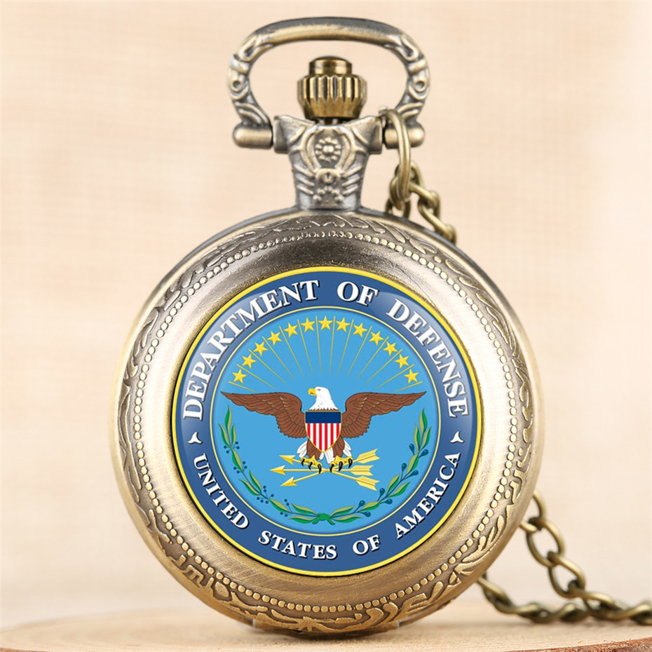 Exquisite U.S. DoD Souvenir Pocket Watch Quartz Necklace Chain Steampunk Cool Full Hunter Pendant Clock Gifts For Men Women