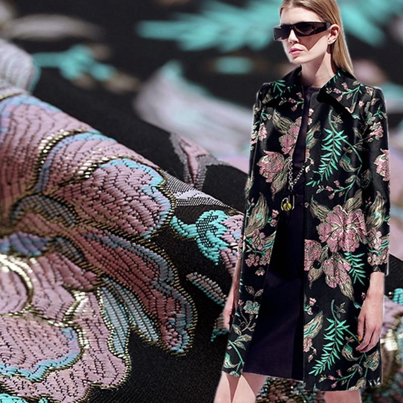 Cercis chinensis relief Imported advanced encryption brocade jacquard fabric for coat crisp tissu au meter bright cloth DIY