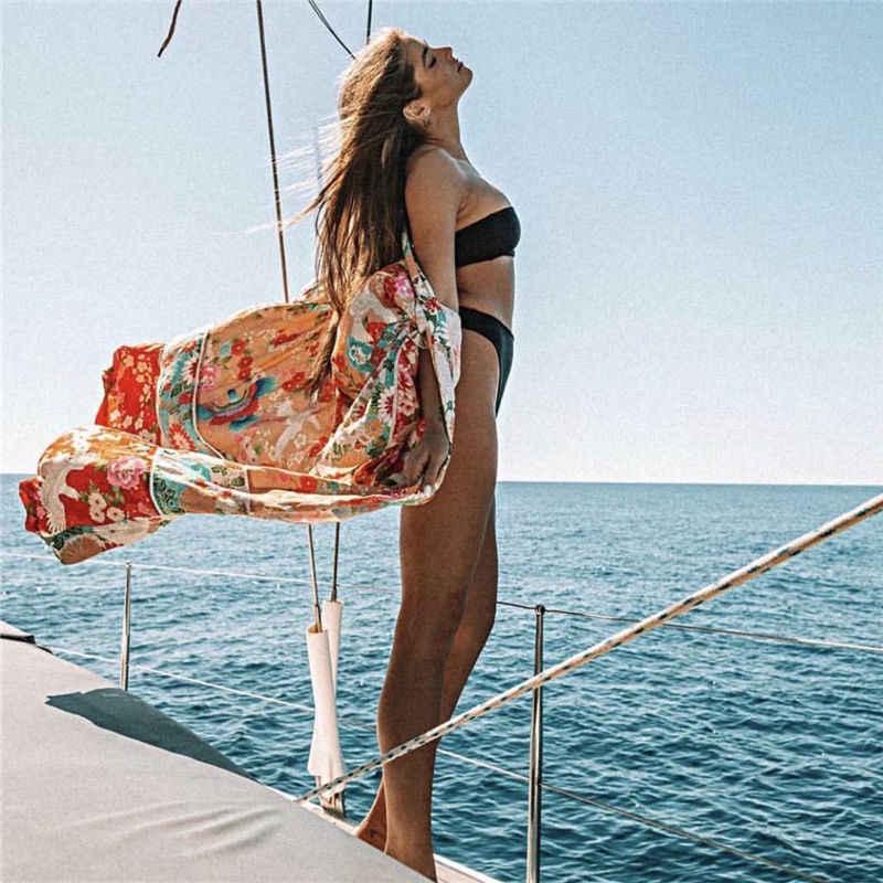 2019 богемное летнее пляжное платье с цветочным принтом, женская пляжная одежда, хлопковая туника, сексуальное открытое спереди платье-кимоно, парео