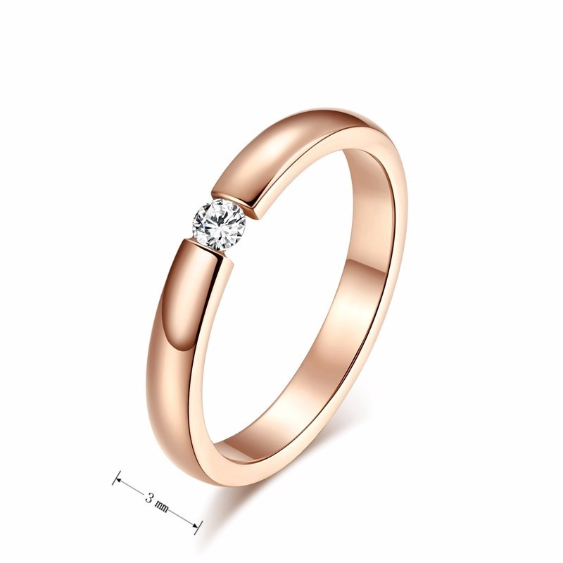 Vnox Trendy Bright 585 Rose Gold Tone Engagement Rings for Couples Stainless Steel with CZ Stone Men Women Wedding Bands 4