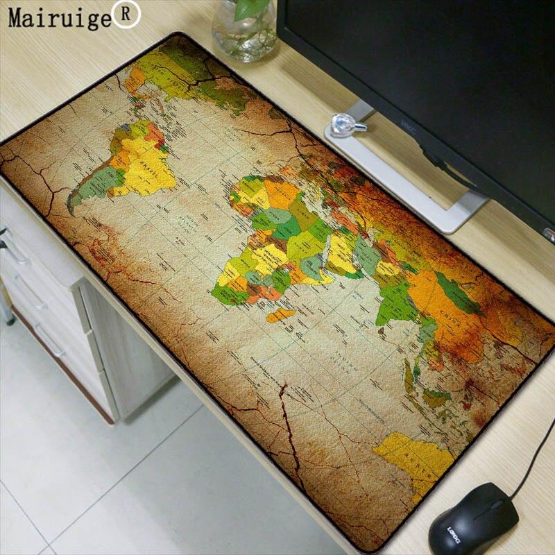 Mairuige Alten Welt Karte Große Gaming Mouse Pad Lockedge Maus Matte Tastatur Pad Schreibtisch Matte Tisch Matte Gamer Mauspad für laptop Lol