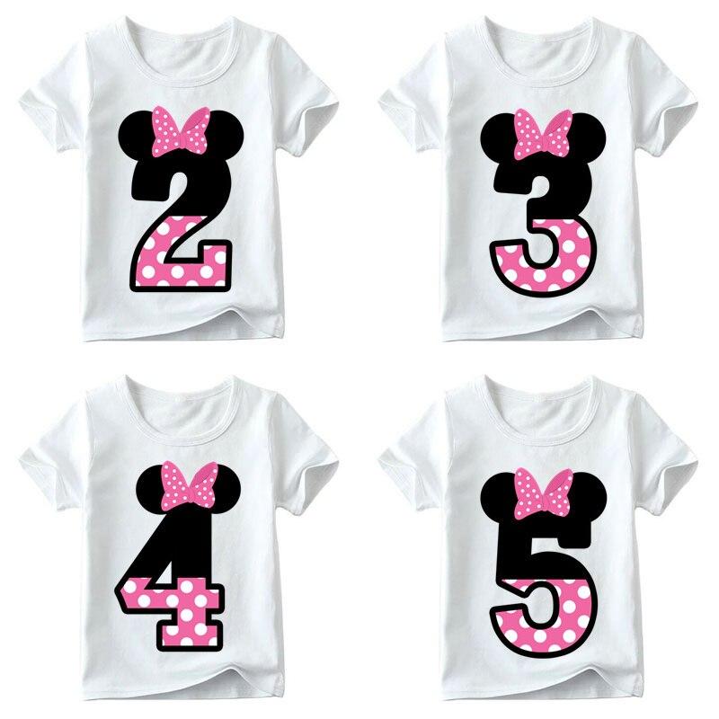 Camiseta estampada divertida para crianças, meninos/meninas, feliz aniversário, laço, número 1 9 presente de aniversário das crianças, ooo2416|Camisetas|   -