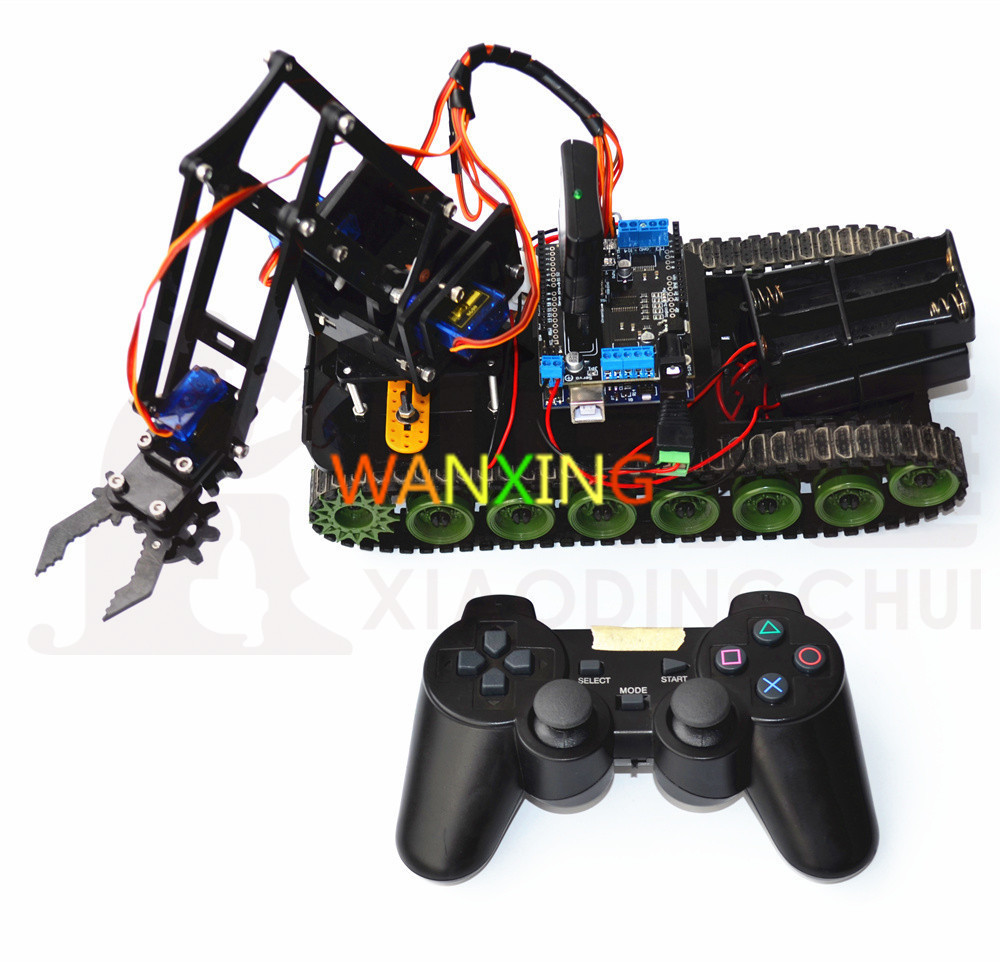 Hi Tech Remote Programmed robot Tank manipulator PS2 mearm adult puzzle toy robo Electric okul cantasi