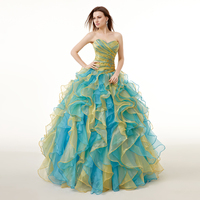 In Stock Real Photo Rainbow Quinceanera Dresses Robe Dentelle Lace Up Back Ball Gown Prom Dresses Women 2017 Online Inexpensive