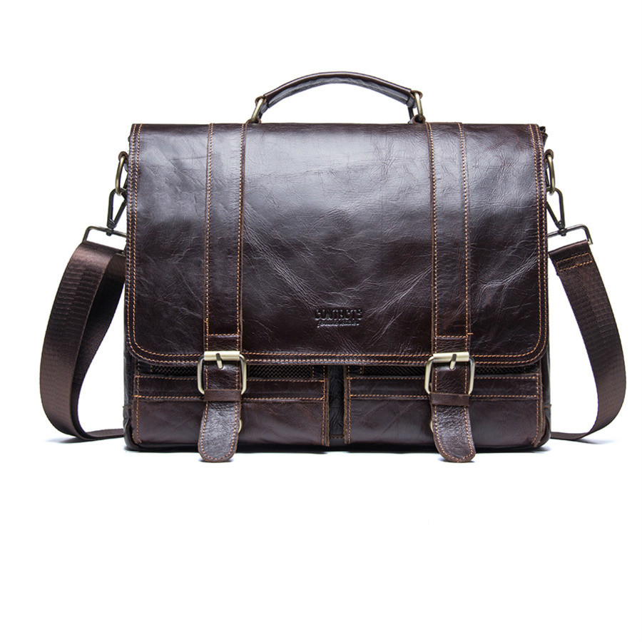 New High Quality Male 100% Real Leather Briefcase Business Shoulder Bag Men's Travel Messenger Luxury Handbags Men Bags Designer все цены