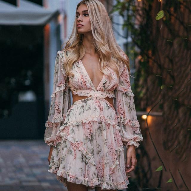 2019 printemps Sexy Criss dos croisé femmes robe fleur imprimé Vocation et plage robe profonde V marque de luxe manches longues Mini-robe
