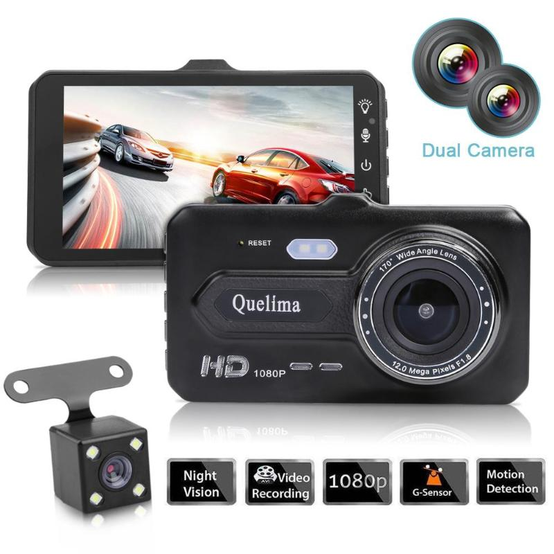 4 Inch Touch Screen Car DVR Dual Lens Camera Video Recorder HD 1080P Android Night Vision Parking Monitor Front Auto Dash Cam-in DVR/Dash Camera from Automobiles & Motorcycles    1