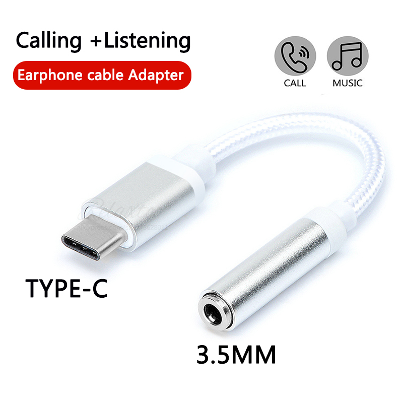 Type C To 3.5mm Earphone Adapter USB Type-C USB-C To 3.5 AUX Audio Jack Cable Converter Headphone Conversion Plug For Xiaomi 8