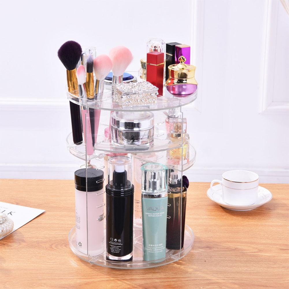 Adeeing Makeup Organizer Holder 360 Degree Rotating Transparent  Lipstick Cosmetic Rack 4 Layer Makeup Shelf