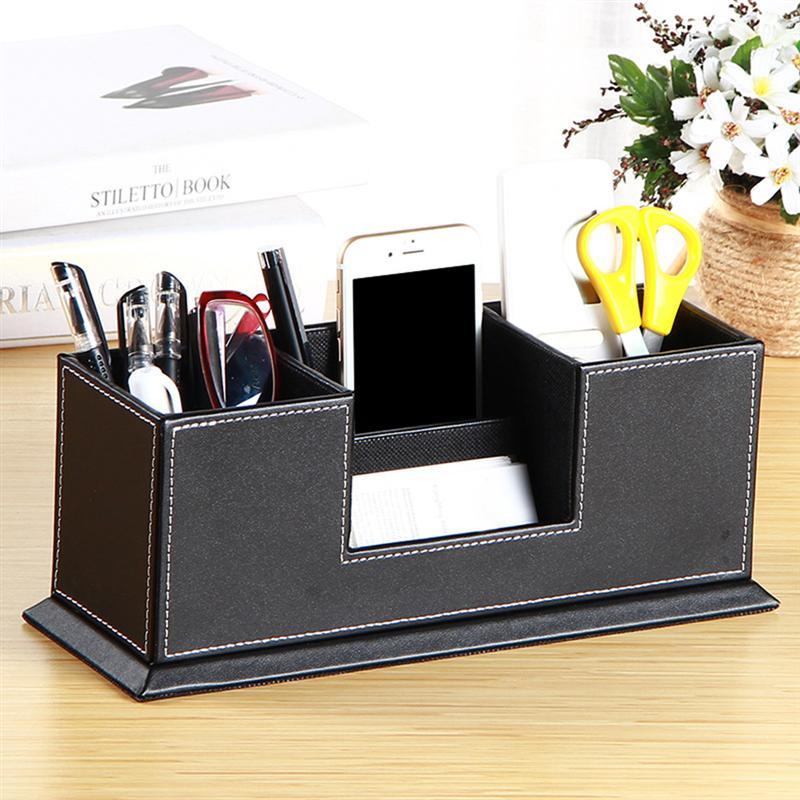 1 Pc Leder Stift Halter Büro Zu Hause Speicher Supplies Container Desktop-organizer Für Visitenkarte Telefon Bleistift Dauerhafter Service