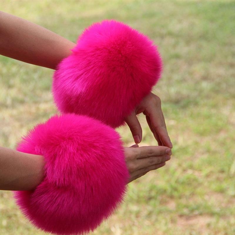 Armstulpen Bescheiden Frauen Übergroßen Faux Kaninchen Pelz Haarigen Manschette Armband Komfortable Winddicht Arm Wärmer Armband Damen Kurzarm W116