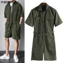 INCERUN 2020 Fashion Men Jumpsuit Rompers Pockets Half Sleeve Belt Solid Pants Streetwear Playsuit Cargo Overalls Men Harajuku