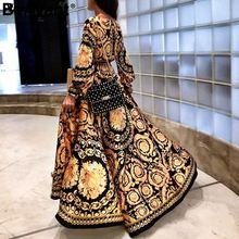 купить Xnxee Vintage gold print maxi dress women Elegant long sleeve loose boho dress V neck split sexy party dress christmas 2019 дешево