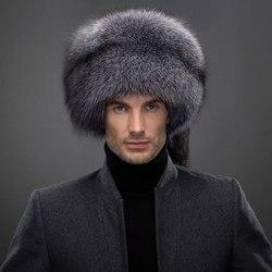 Casquette en fourrure de renard argent véritable   Russe, argent naturel, casquette pour hommes avec queue de renard, chapeau pour hiver doux