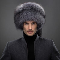Russian Real Natural Silver Fox Fur Cap Man With Lady Fox Tail Male Winter Soft Hat