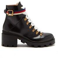 Натуральная кожа черного цвета из воловьей кожи ботильоны женская обувь модные бронзовые пряжки и лентами Для женщин зимние Роскошная обув