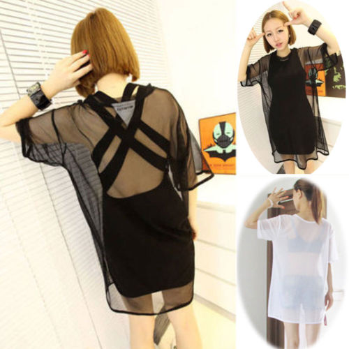 2020 Fashion Womens See through Sheer Mesh Short Sleeve Tee T Shirt Summer Sexy Oversize Tops O Neck