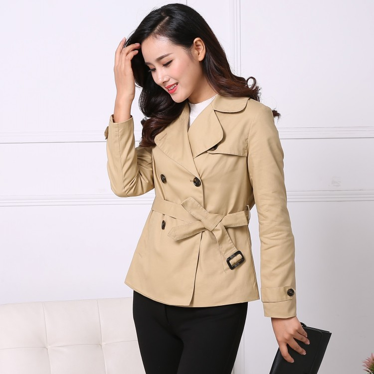 High quality Korean short Windbreaker turn down collar double-breasted   trench   coat for women Cotton Waist slim Loose Coat Blazer