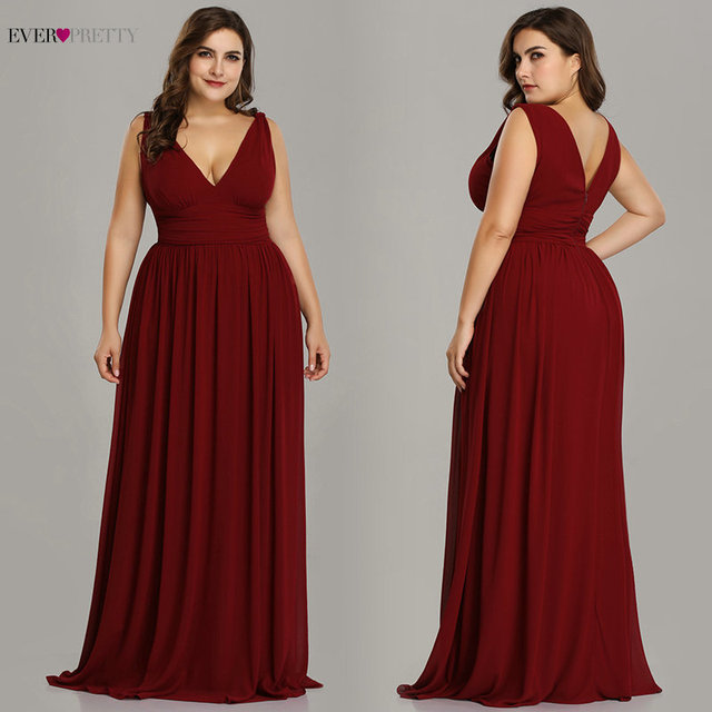 Ever Pretty Plus Size Evening Dresses Long Elegant V-neck Chiffon A-line Sleeveless Sexy Burgundy Party Dress robe soiree 2020 2