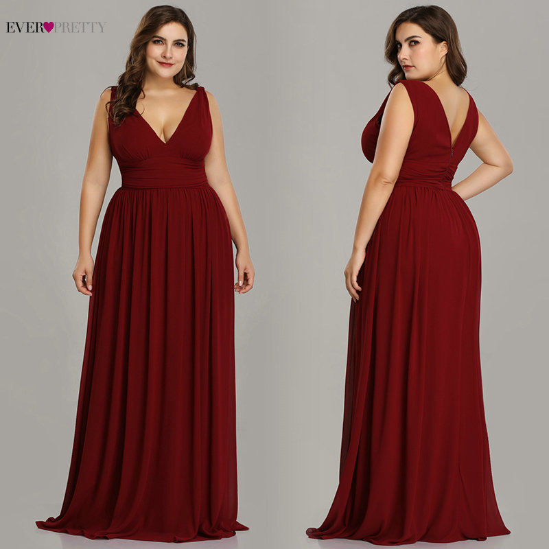 Ever Pretty Plus Size Evening Dresses Long Elegant V-neck Chiffon A-line Sleeveless Sexy Burgundy Party Dress robe soiree 2020