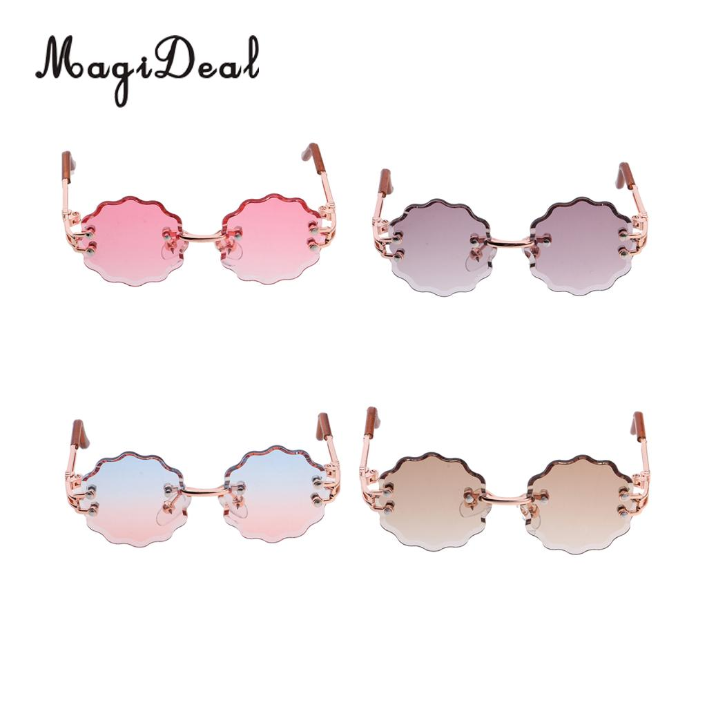 16 Trendy Hippy Style Metal Frame Glasses Eyeglasses Wave-shaped Sunglasses For Blythe Doll Party Clothing Dress-up Accessory