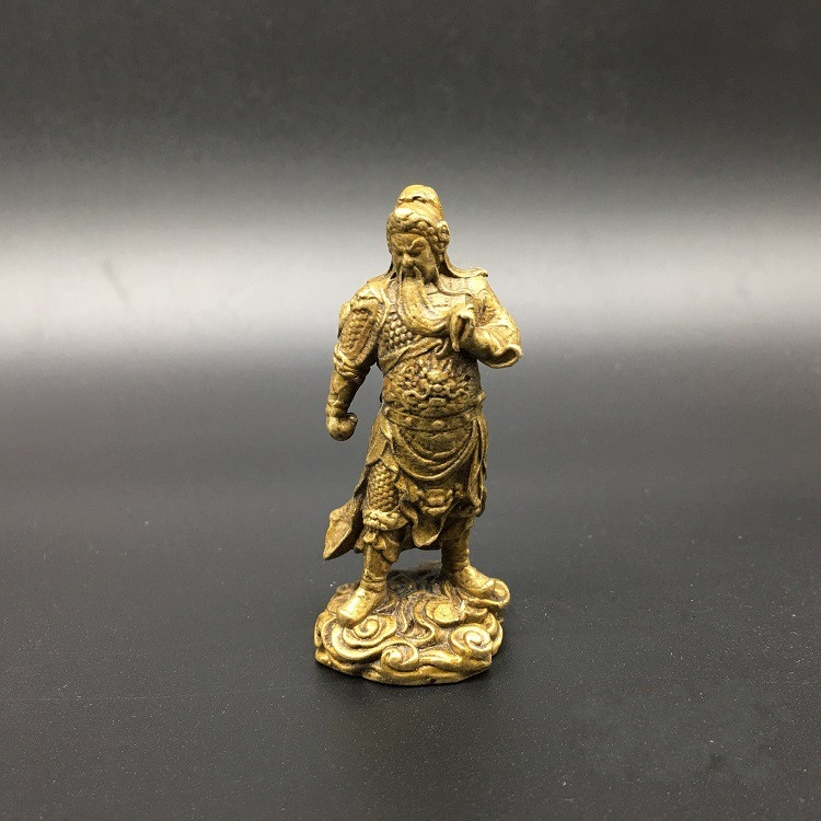Collectable Chinese Brass Carved Mammon Guan Gong Guan Yu  Buddha Exquisite Small Statues