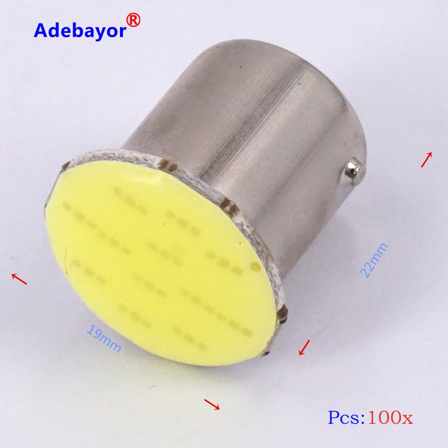 100x 1156 BA15S 12 Chips <font><b>p21w</b></font> <font><b>COB</b></font> <font><b>LED</b></font> Car Auto Trunk Interior RV Trailer Rear Turn Signal Lights Bulb Lamp White car accessories image
