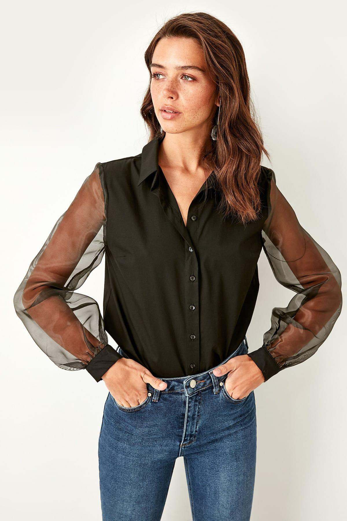 Trendyol Black Organza Sleeve Shirt TWOSS19EH0079