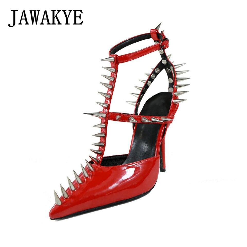 Sexy red D'été Clouté forme Long Pompes Chaussures Talons Clou Rivets Pour Black Es Wedge Hauts Sharp Plate Femmes Femme 2019 white Nouveau ORfEwEYq