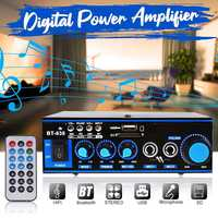 2 ch 220V LCD Display Audio Power Amplifier Home Theater Amplifiers Audio with Remote Control Support FM USB bluetooth Home Car