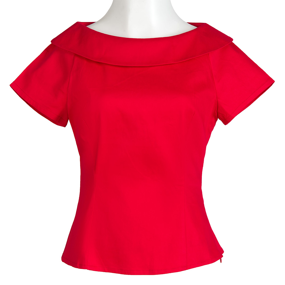 2018 New Elegant Doll Collar Retro Vintage Inspired Women Clothing Summer Top Red Pin Up   Blouses     Shirts   50s Design For Party